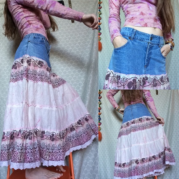 Vintage Dresses & Skirts - Country Girl Mix Nouveau Cowgirl Maxi Skirt